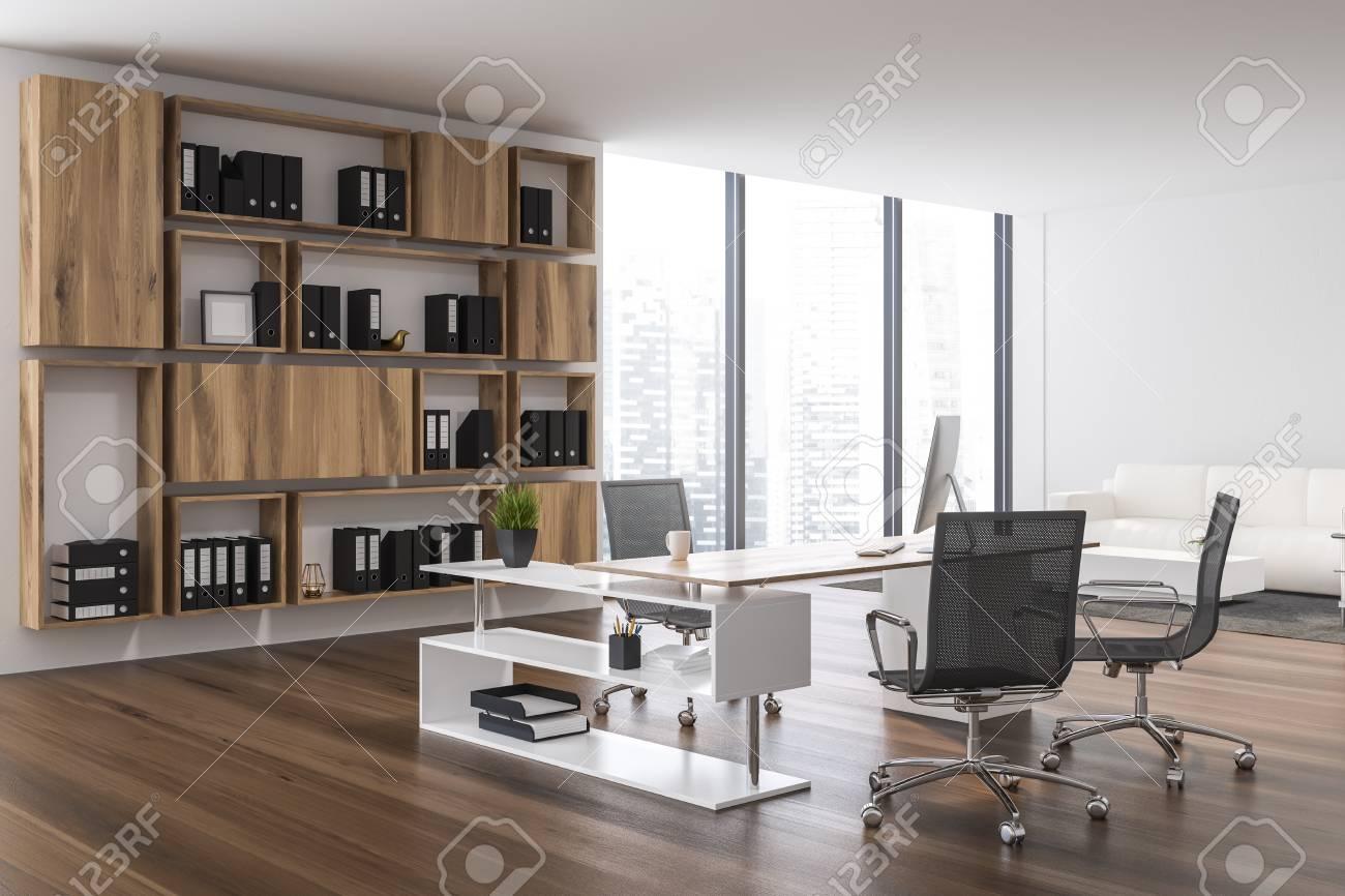 Interior Of Ceo Office With White Walls Dark Wooden Floor White