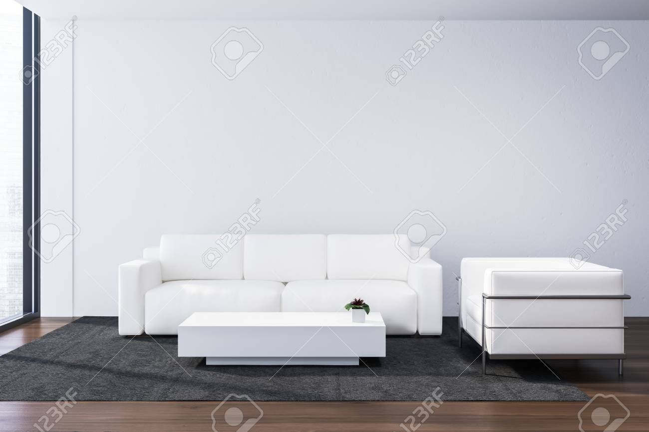 Interior of modern office lounge area with white walls, wooden..