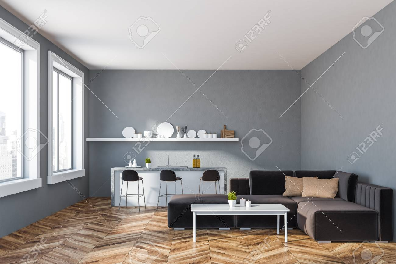 Interior Of Kitchen And Living Room With Gray Walls Wooden Floor