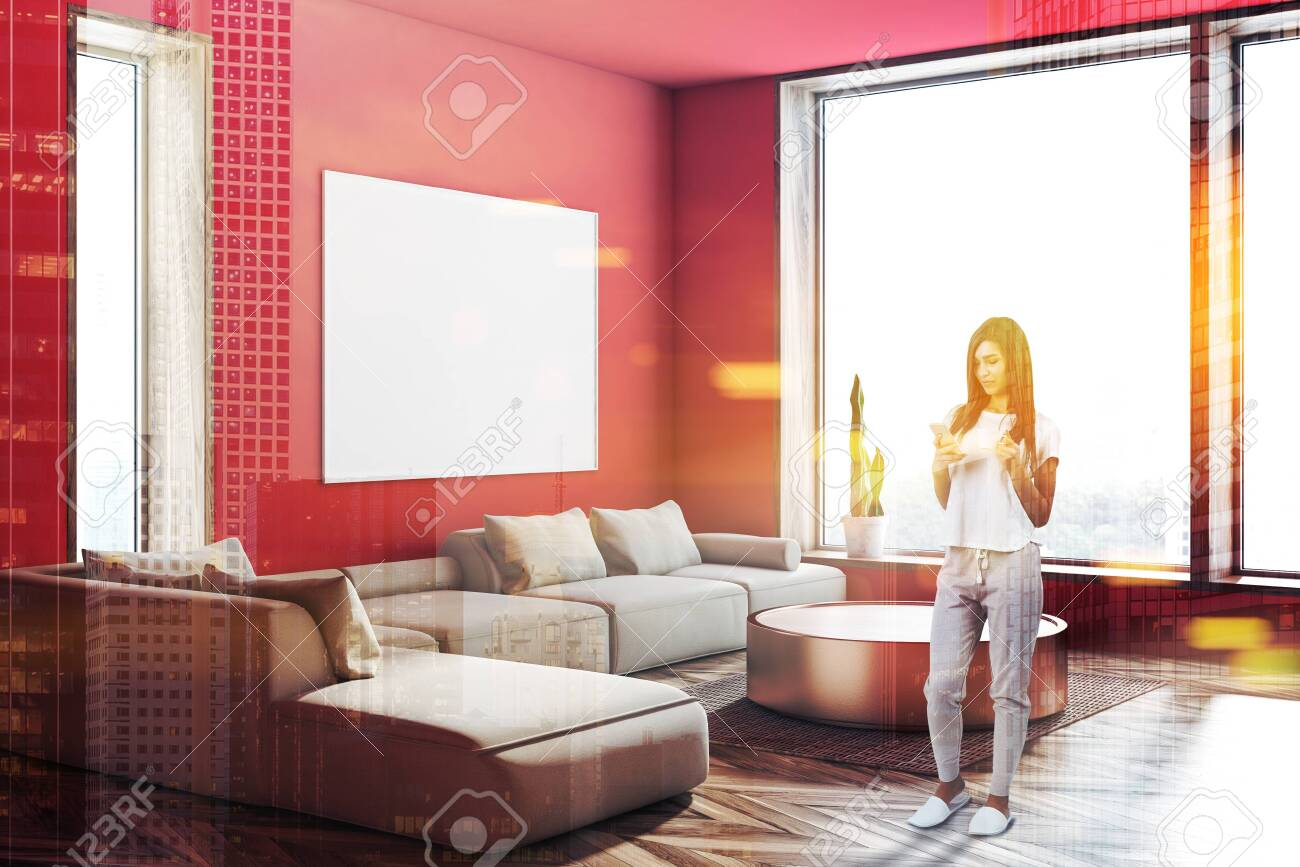 Super Woman In Corner Of Spacious Living Room With Red Walls Wooden Home Interior And Landscaping Pimpapssignezvosmurscom