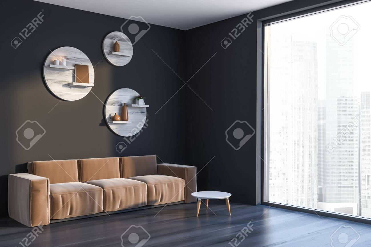 Astonishing Corner Of Living Room With Gray Walls Black Wooden Floor Panoramic Dailytribune Chair Design For Home Dailytribuneorg