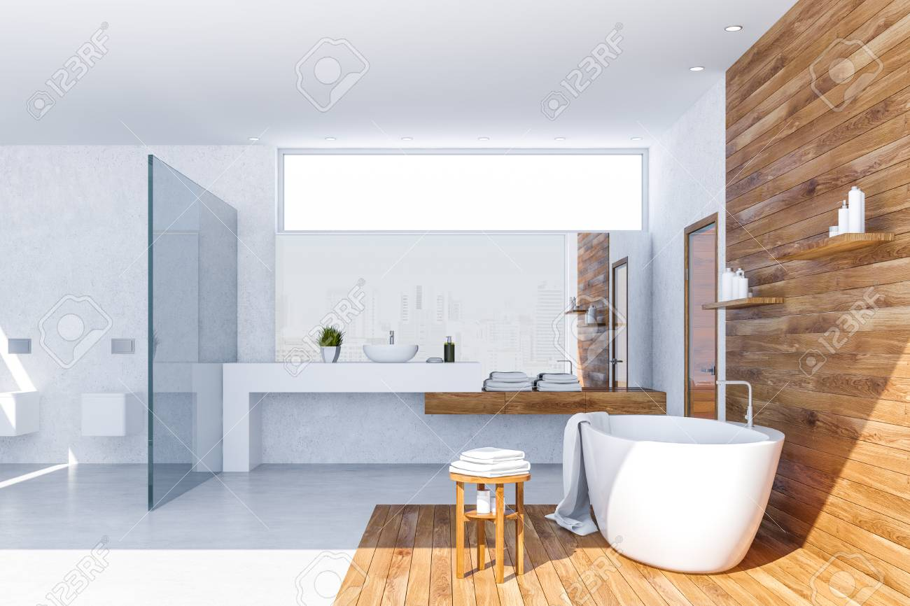 Interior Of Stylish Bathroom With White And Wooden Walls White Stock Photo Picture And Royalty Free Image Image 116380209