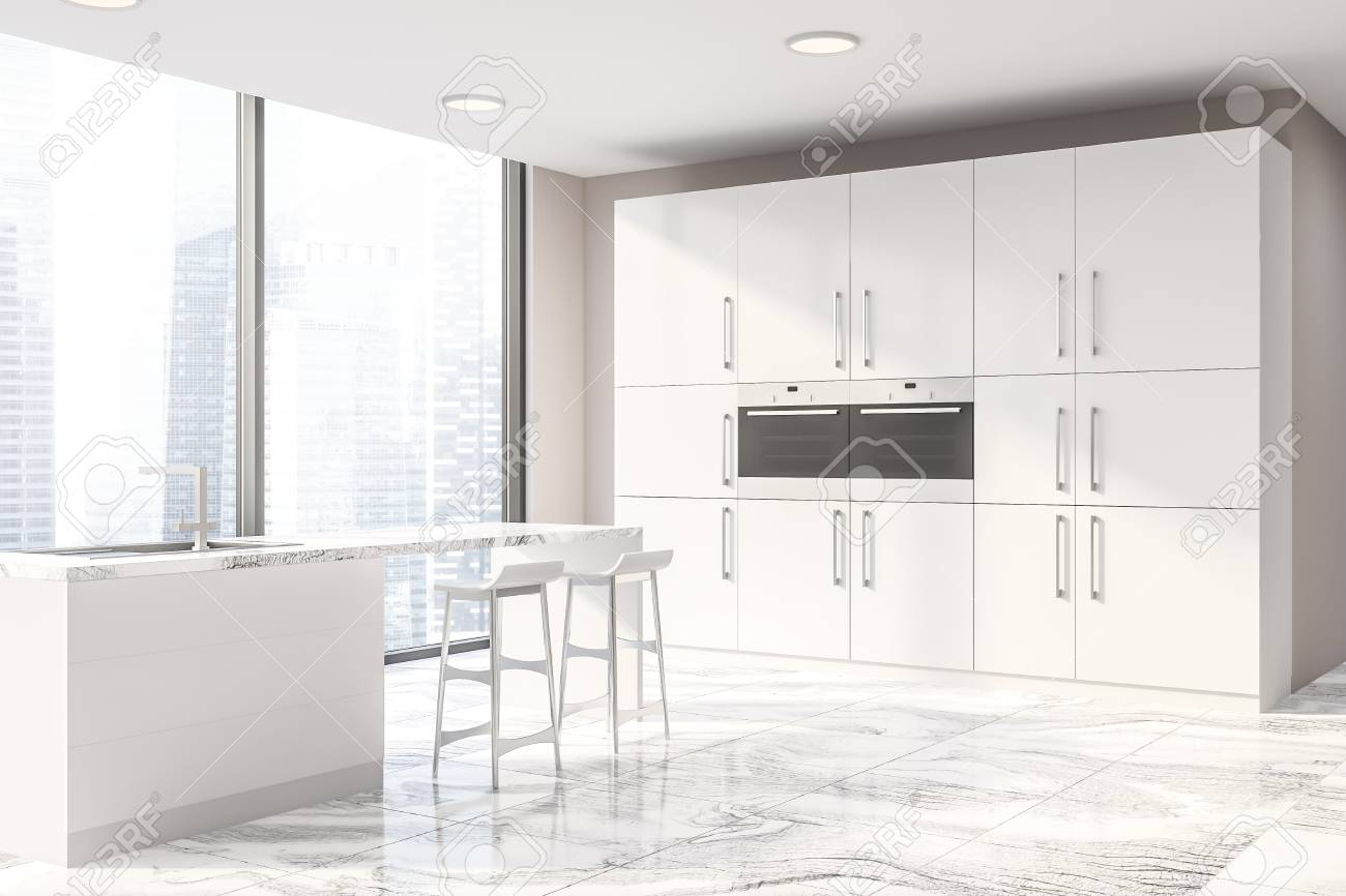 Corner Of Modern Kitchen With Beige Walls White Marble Floor Stock Photo Picture And Royalty Free Image Image 117069165