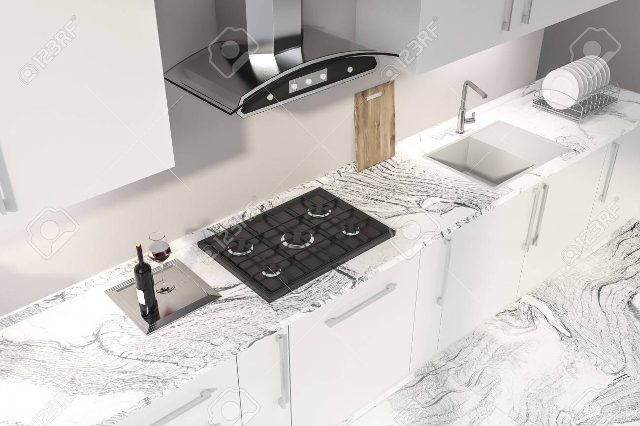 Top View Of White Marble Countertops With Built In Sink And Cooker Stock Photo Picture And Royalty Free Image Image 116998693