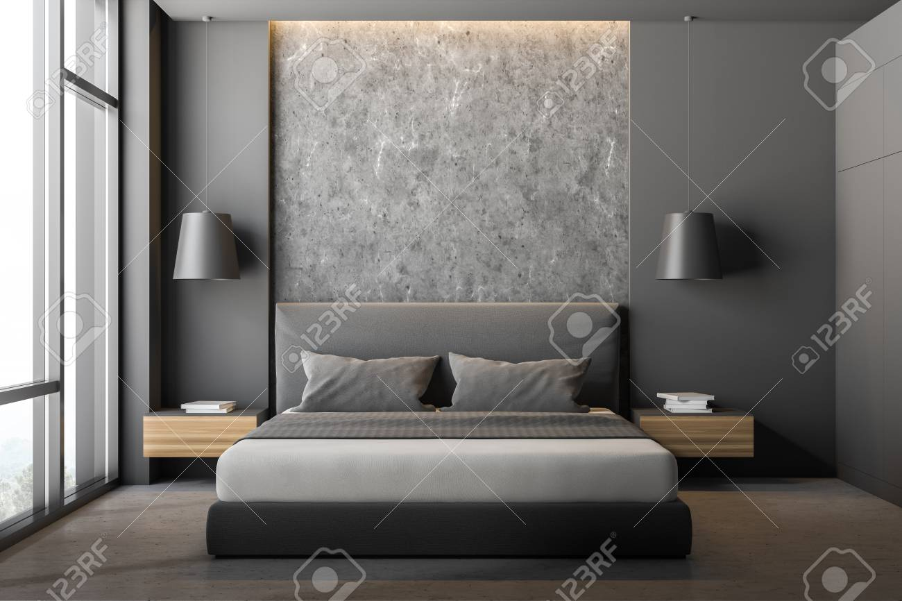 Front view of modern bedroom with gray and stone walls, stone..