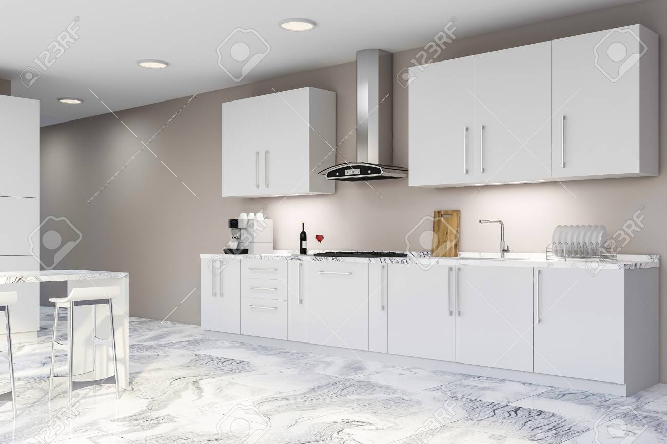 Corner Of Stylish Kitchen With Beige Walls Marble Floor White Stock Photo Picture And Royalty Free Image Image 116997900