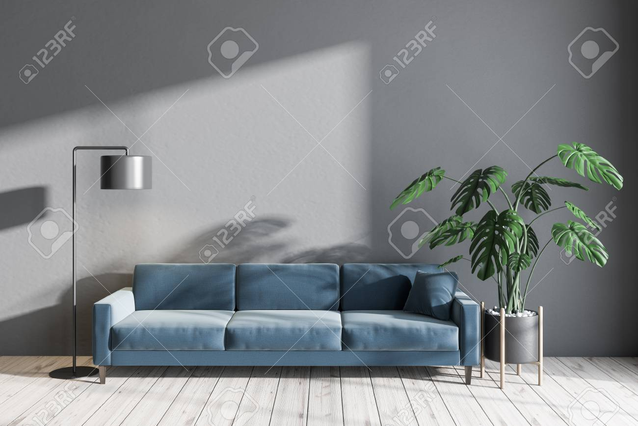 Interior Of Minimalistic Living Room With Gray Walls Wooden Stock Photo Picture And Royalty Free Image Image 116997659