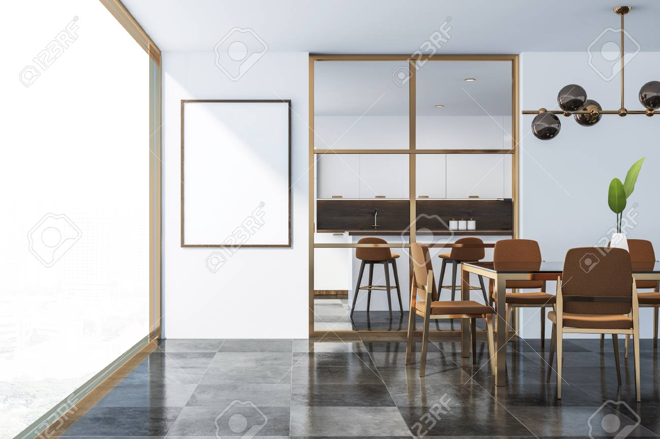 Brilliant Interior Of Modern Dining Room With White Walls Dark Tiled Floor Caraccident5 Cool Chair Designs And Ideas Caraccident5Info