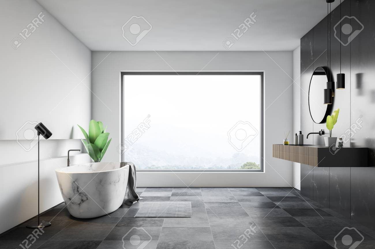 Interior Of Bathroom With White And Black Marble Walls Tiled Stock Photo Picture And Royalty Free Image Image 117868250