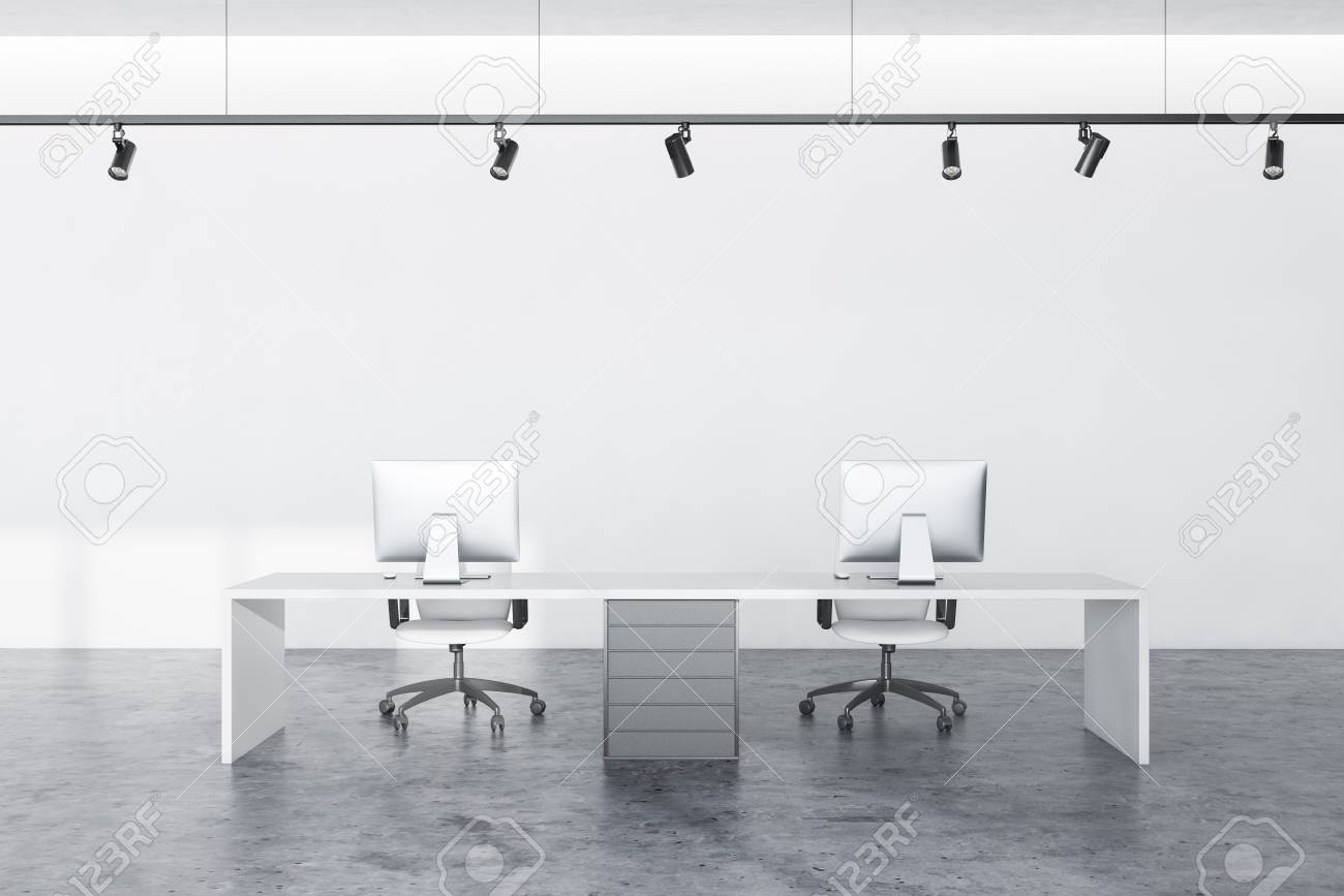 Interior Of Modern Office Workplace With White Walls Concrete