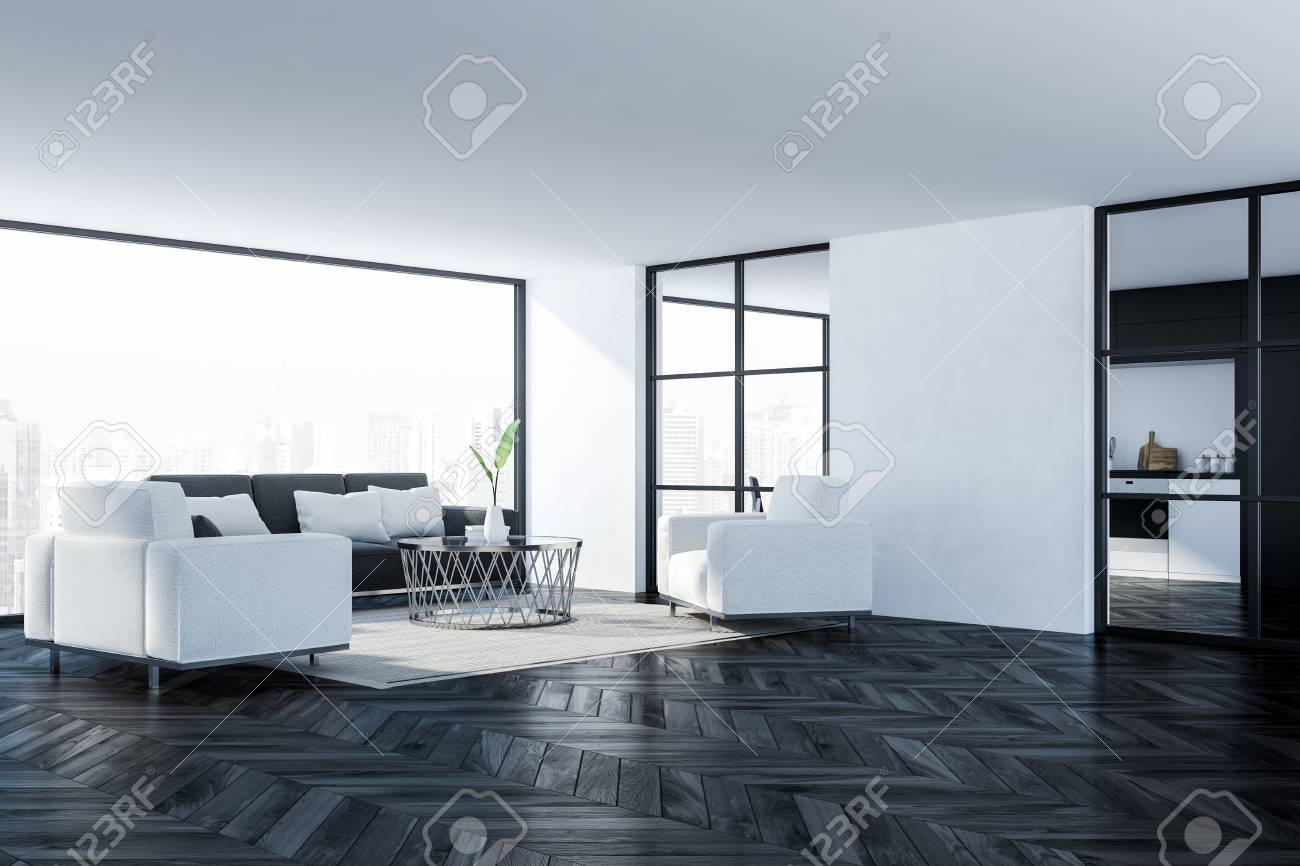 Corner Of Modern Living Room With White Walls Dark Wooden Floor