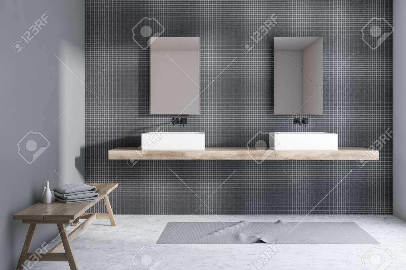 Interior Of Modern Bathroom With Gray And Black Tile Walls Concrete Stock Photo Picture And Royalty Free Image Image 117919462