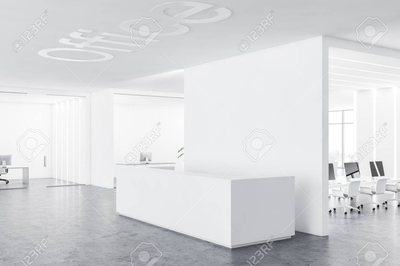 White reception desk standing in modern office lobby with white..