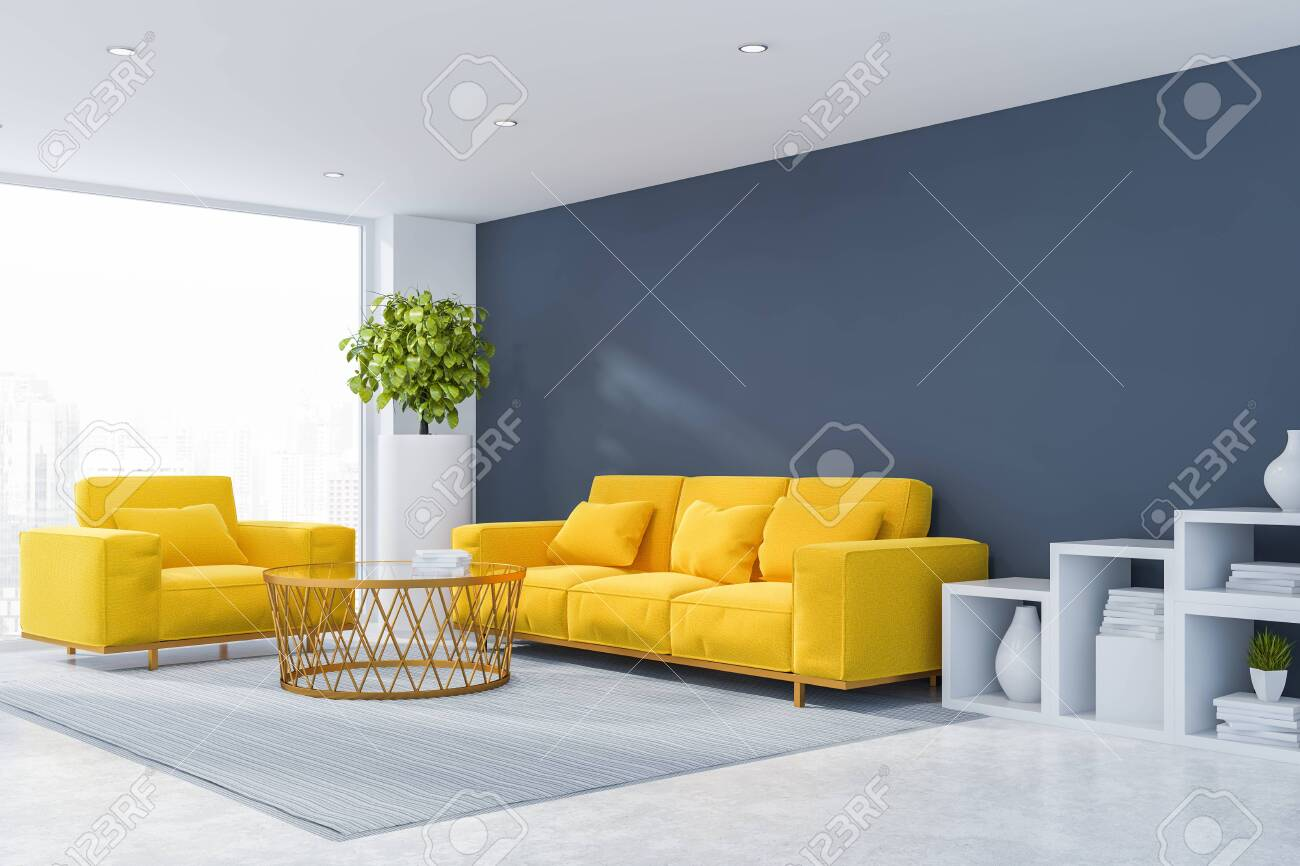Corner Of Modern Living Room With Gray Walls White Floor Yellow