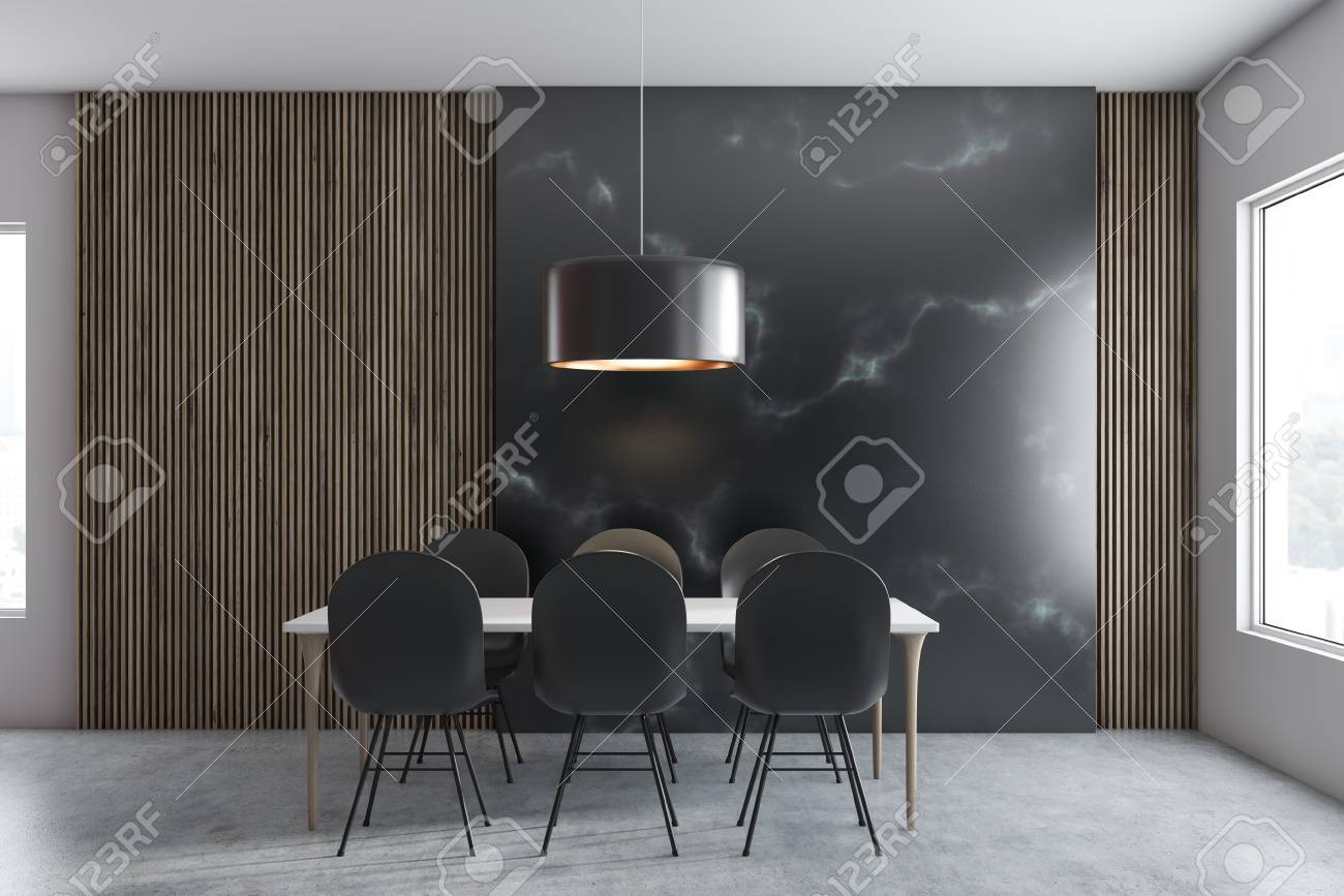 Interior Of Modern Dining Room With Wooden And Black Marble Walls Stock Photo Picture And Royalty Free Image Image 118899090