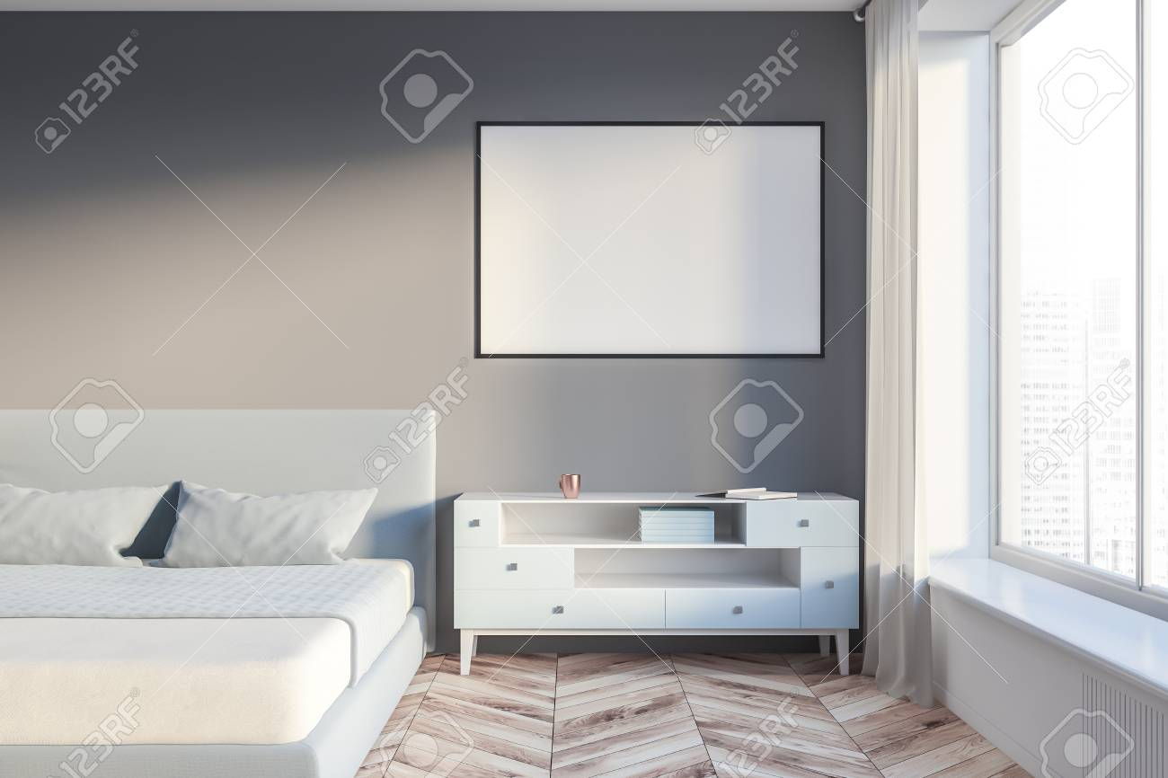 Interior Of Master Bedroom With Gray And White Walls Wooden