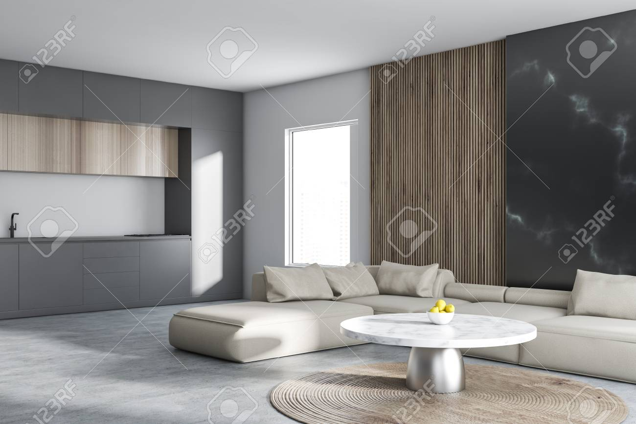 Phenomenal Interior Of Modern Studio Flat With Living Room With Beige Sofa Ncnpc Chair Design For Home Ncnpcorg
