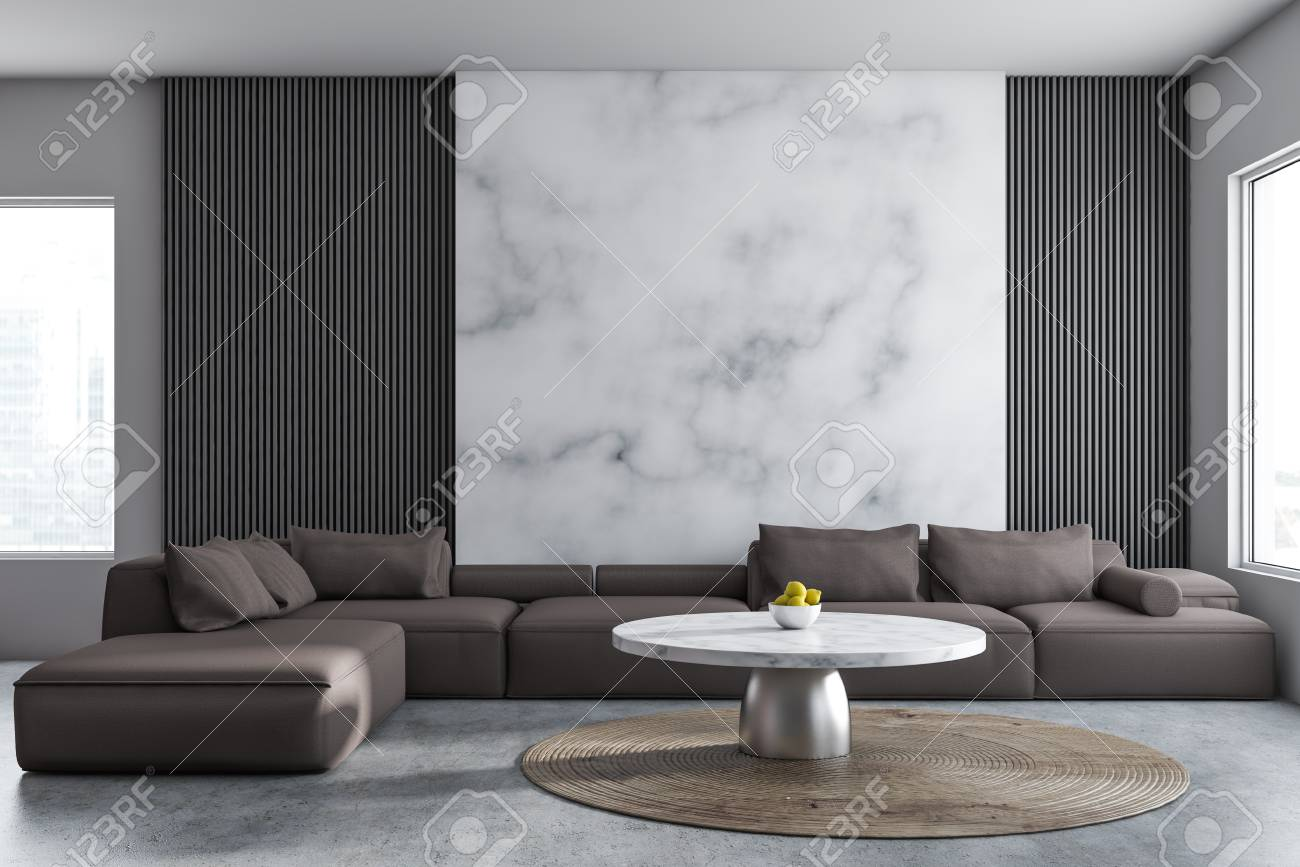 Interior of comfortable living room with gray and white marble..