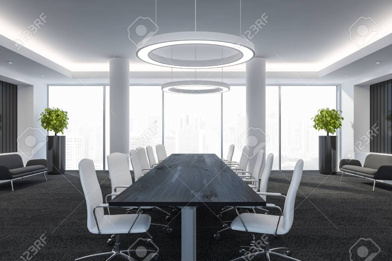 Modern conference room with furniture, big windows and city view 3D Render - 119443924
