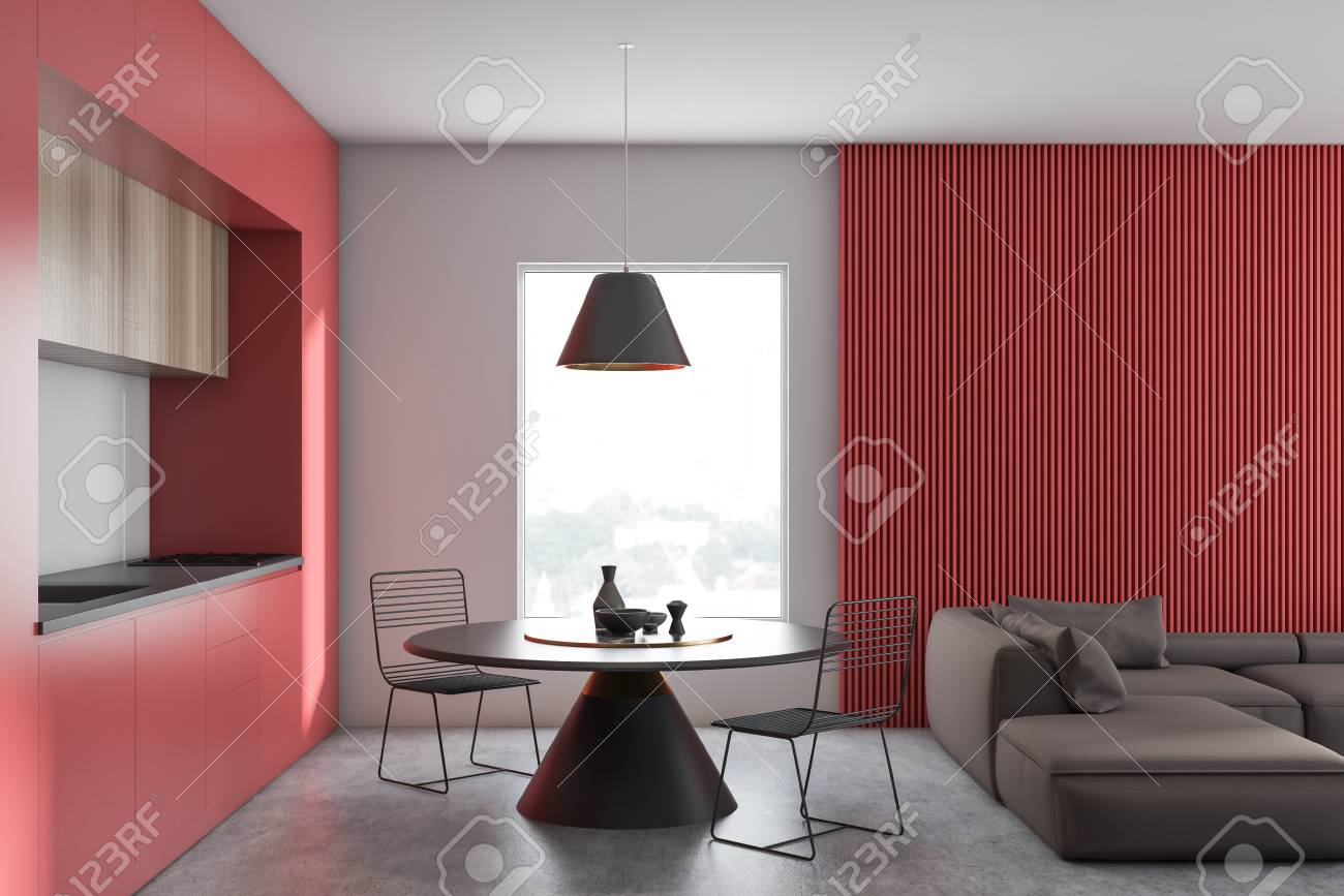 Interior of modern kitchen and living room with white and red..