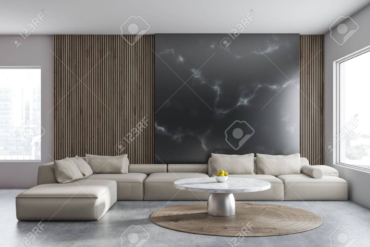 . Interior of comfortable living room with wooden and black marble