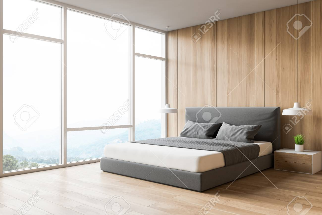 Modern Design Wooden Bedroom Interior With Window And City View Stock Photo Picture And Royalty Free Image Image 119729040
