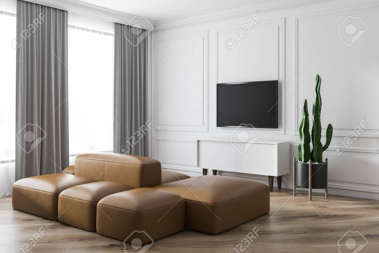 Modern Living Room Design Interior With Sofa And TV Screen. 20D ...