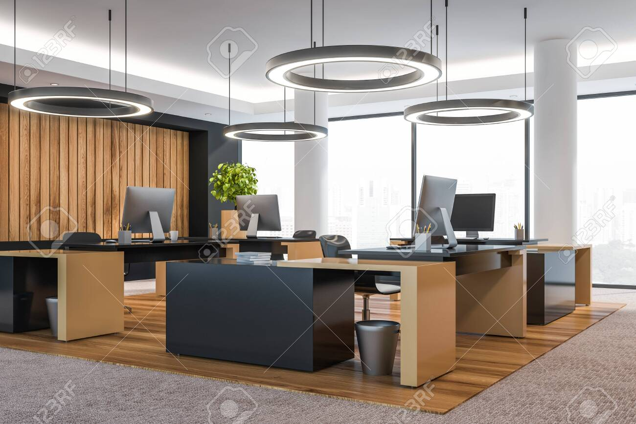 Modern office interior with furniture. 3d rendering. - 120196765