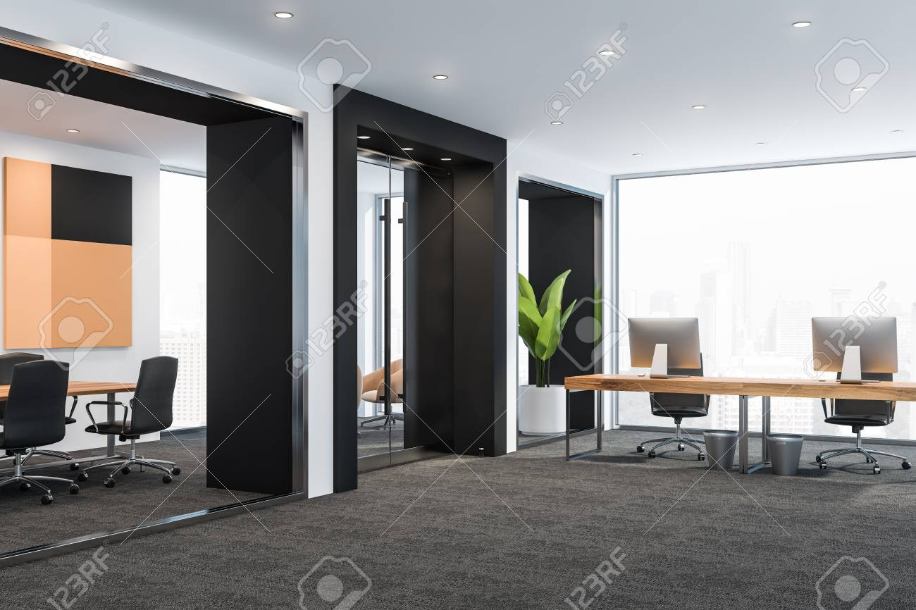 Modern Office Interior With Meeting Room Table Small Lounge Stock Photo Picture And Royalty Free Image Image 120232704