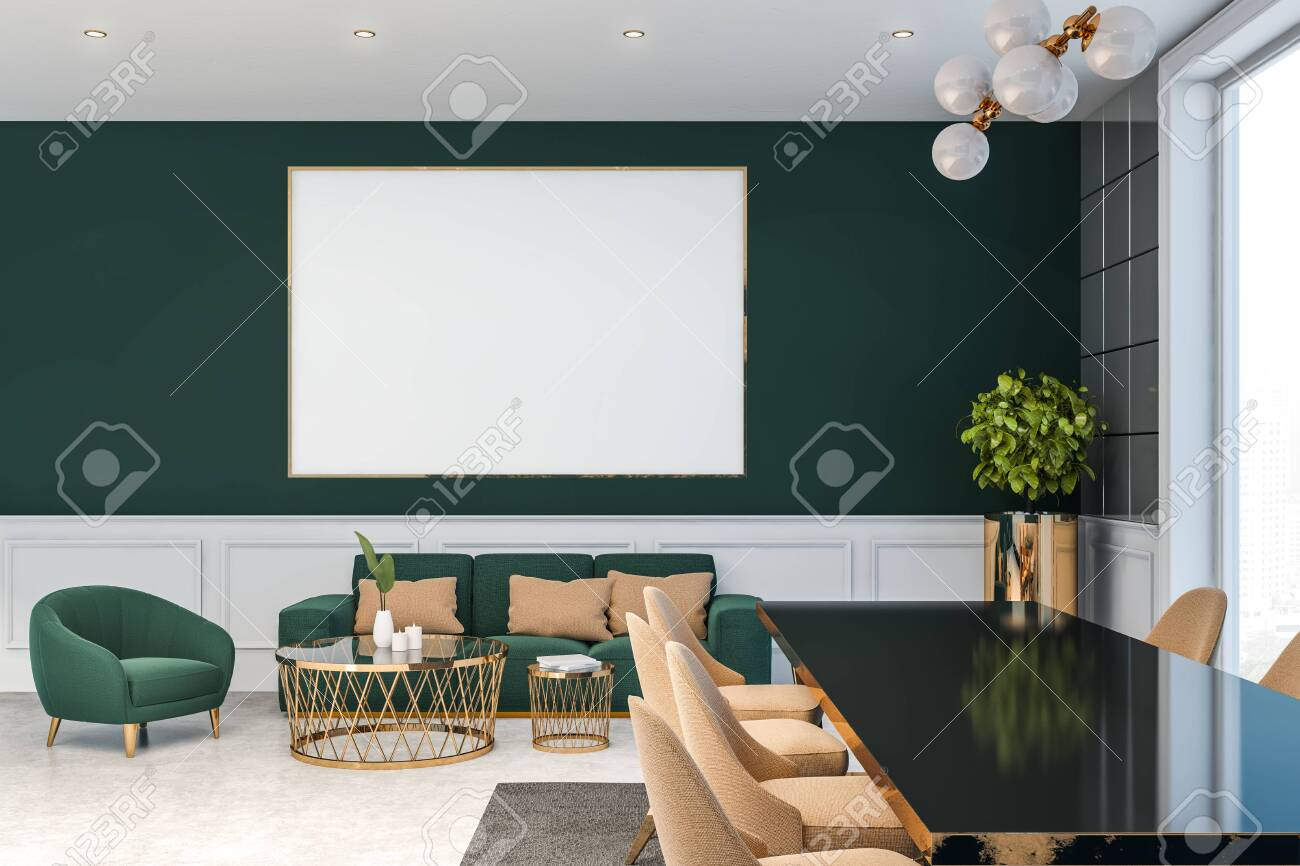 Luxury Living Room Interior With Dark Green Walls, Concrete Floor ...