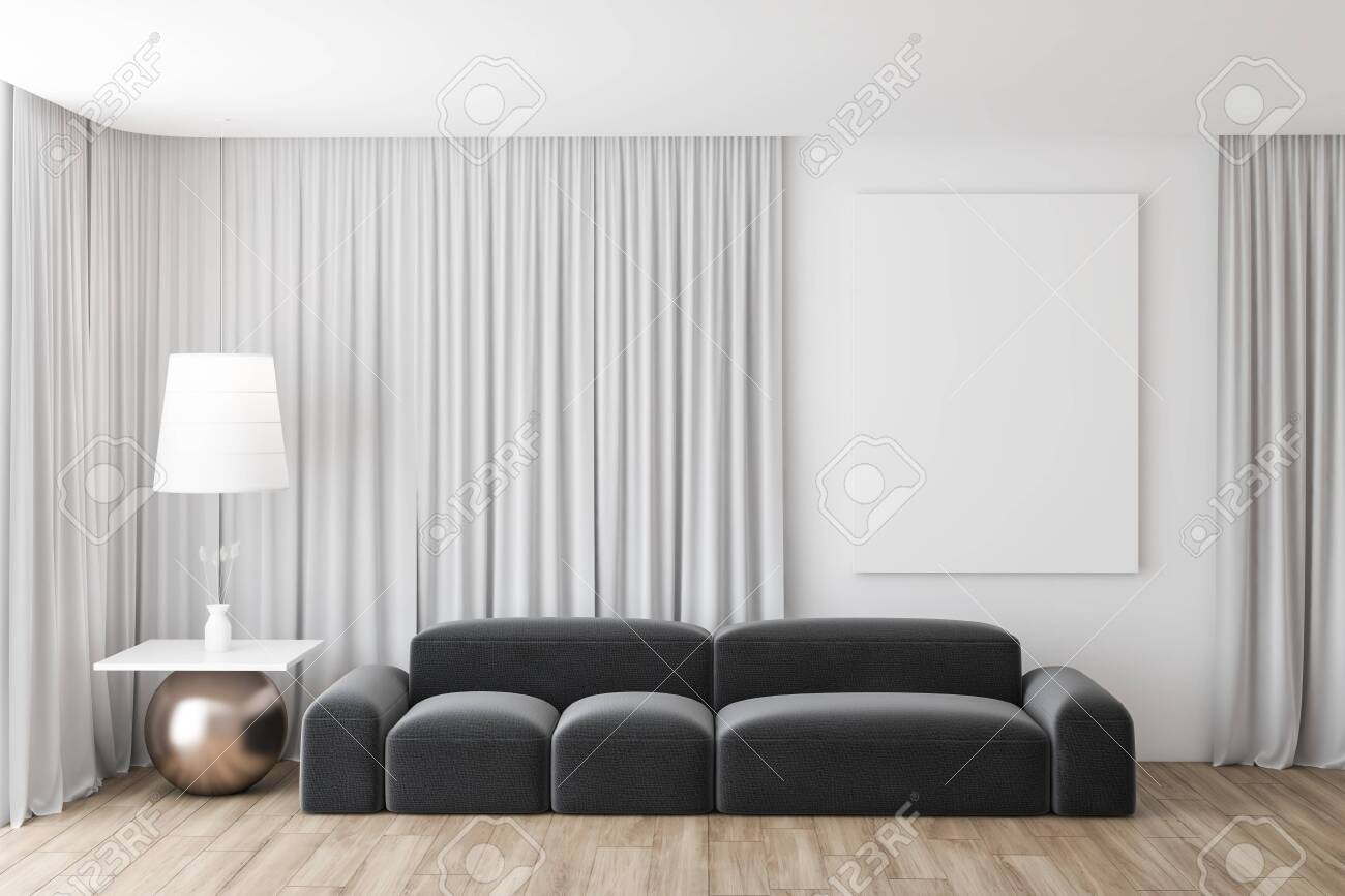 Interior Of Stylish Living Room With White Walls, Large Windows