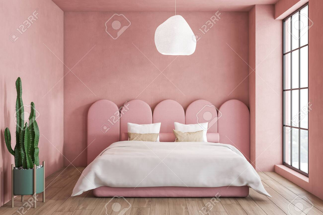 Interior Of Minimalistic Bedroom With Pink Walls Wooden Floor Stock Photo Picture And Royalty Free Image Image 120868198