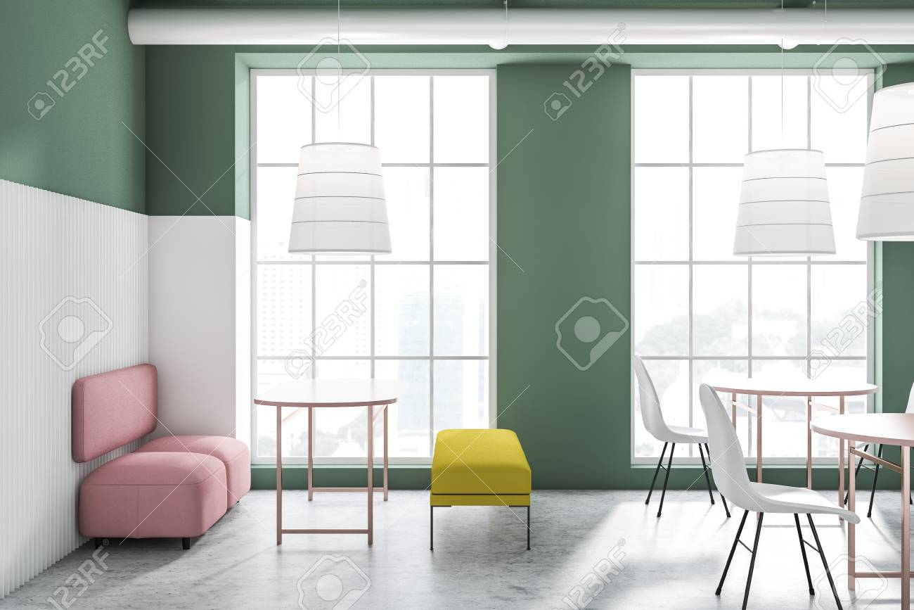 Amazing Side View Of Bright Green And White Cafe Interior With Pink Sofas Caraccident5 Cool Chair Designs And Ideas Caraccident5Info