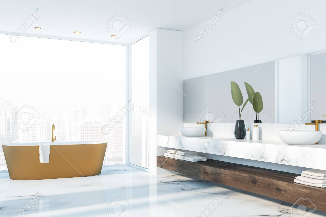 Corner Of Luxury Bathroom With White Marble Floor Beige Bathtub Stock Photo Picture And Royalty Free Image Image 121456711