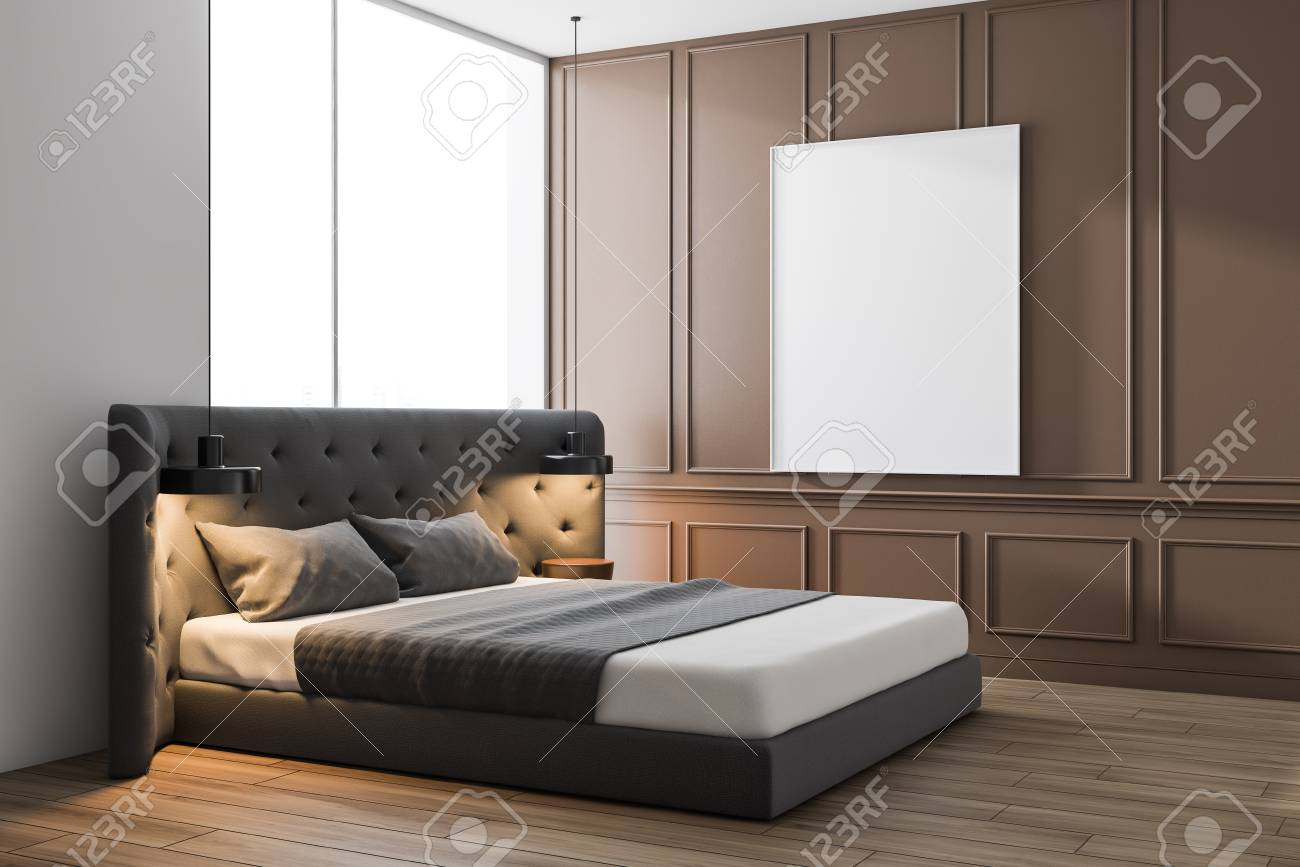 Interior Of Minimalist Bedroom With Beige And White Walls Wooden Stock Photo Picture And Royalty Free Image Image 121456561