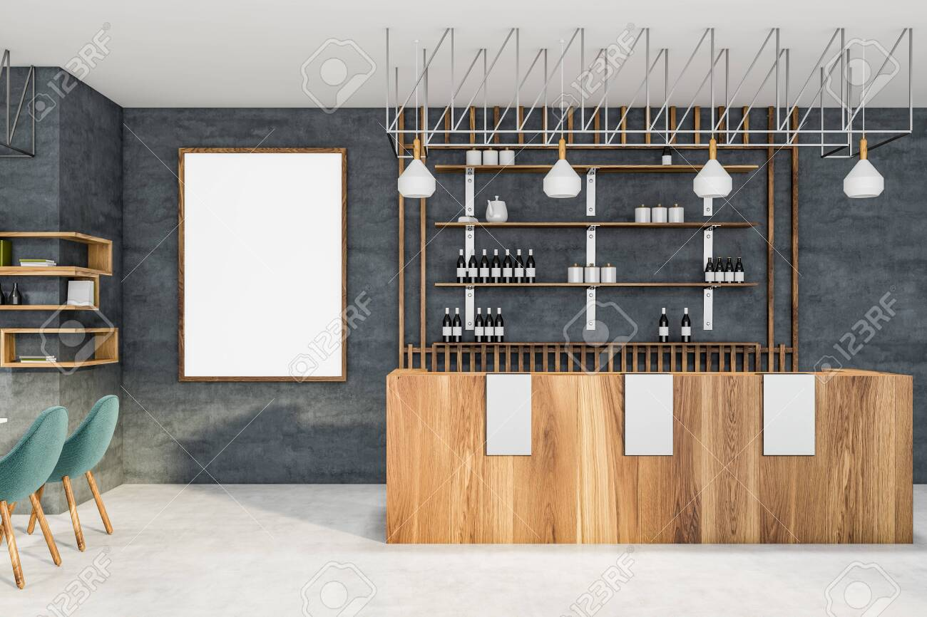 Interior Of Stylish Pub With Concrete Walls White Floor Wooden Stock Photo Picture And Royalty Free Image Image 121455970