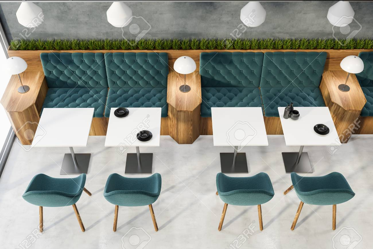 Top View Of Restaurant Interior With Blue And Wooden Sofas Blue Stock Photo Picture And Royalty Free Image Image 121455869