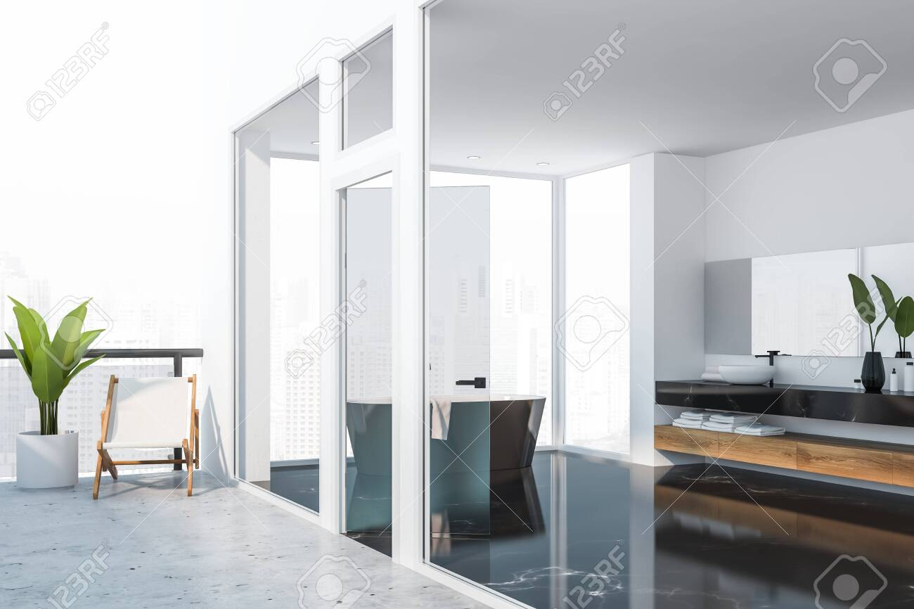 Luxury Apartment Interior With White Bathroom With Black Marble Stock Photo Picture And Royalty Free Image Image 122047768