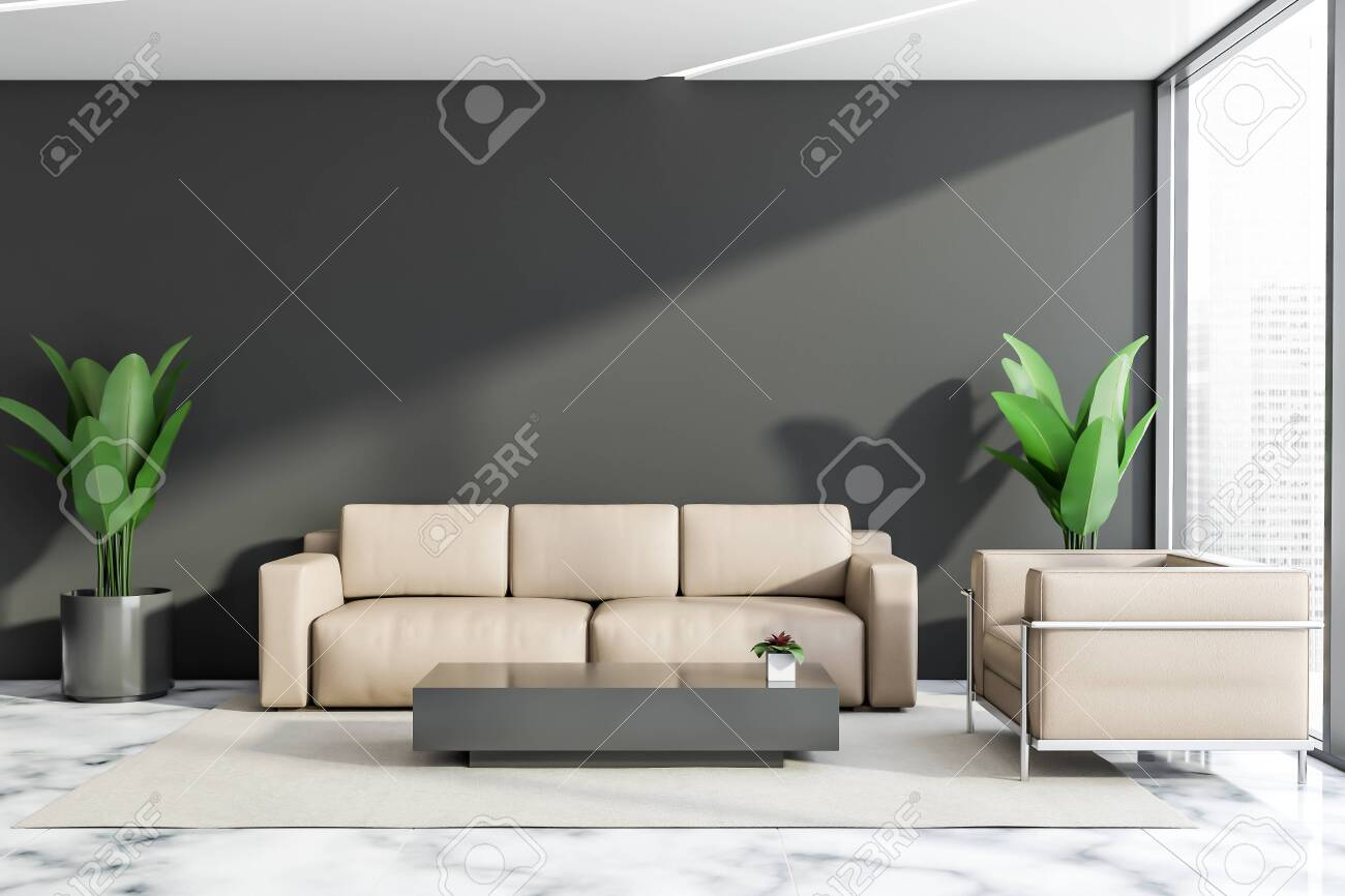 Luxury office lounge area with gray walls, marble floor and leather..