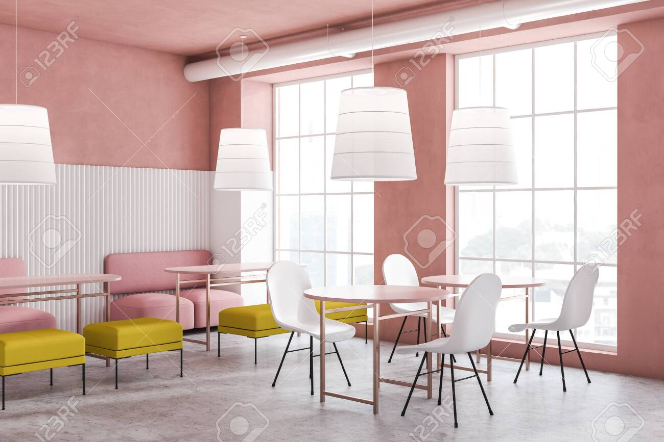 Astonishing Bright Pink And White Cafe Interior With Pink Sofas Yellow Benches Caraccident5 Cool Chair Designs And Ideas Caraccident5Info