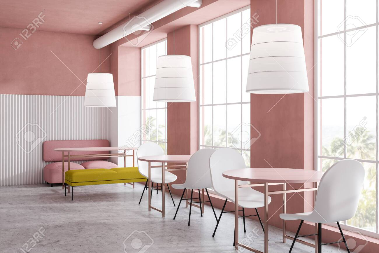 Bright Pink And White Family Restaurant Interior With Pink Sofa Stock Photo Picture And Royalty Free Image Image 122119211