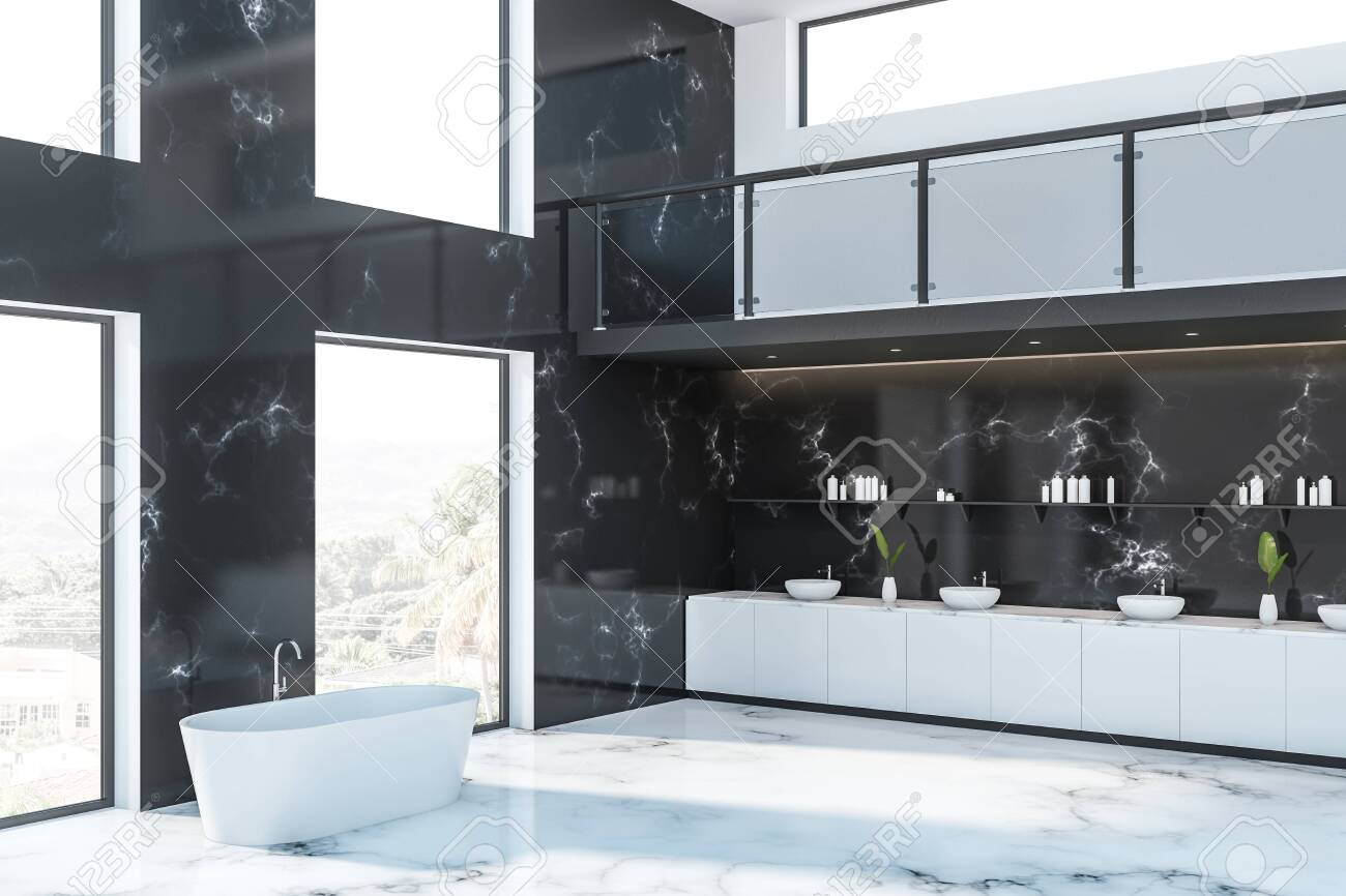 Luxury Bathroom Corner In Hotel With Black Marble Walls White Stock Photo Picture And Royalty Free Image Image 122314331
