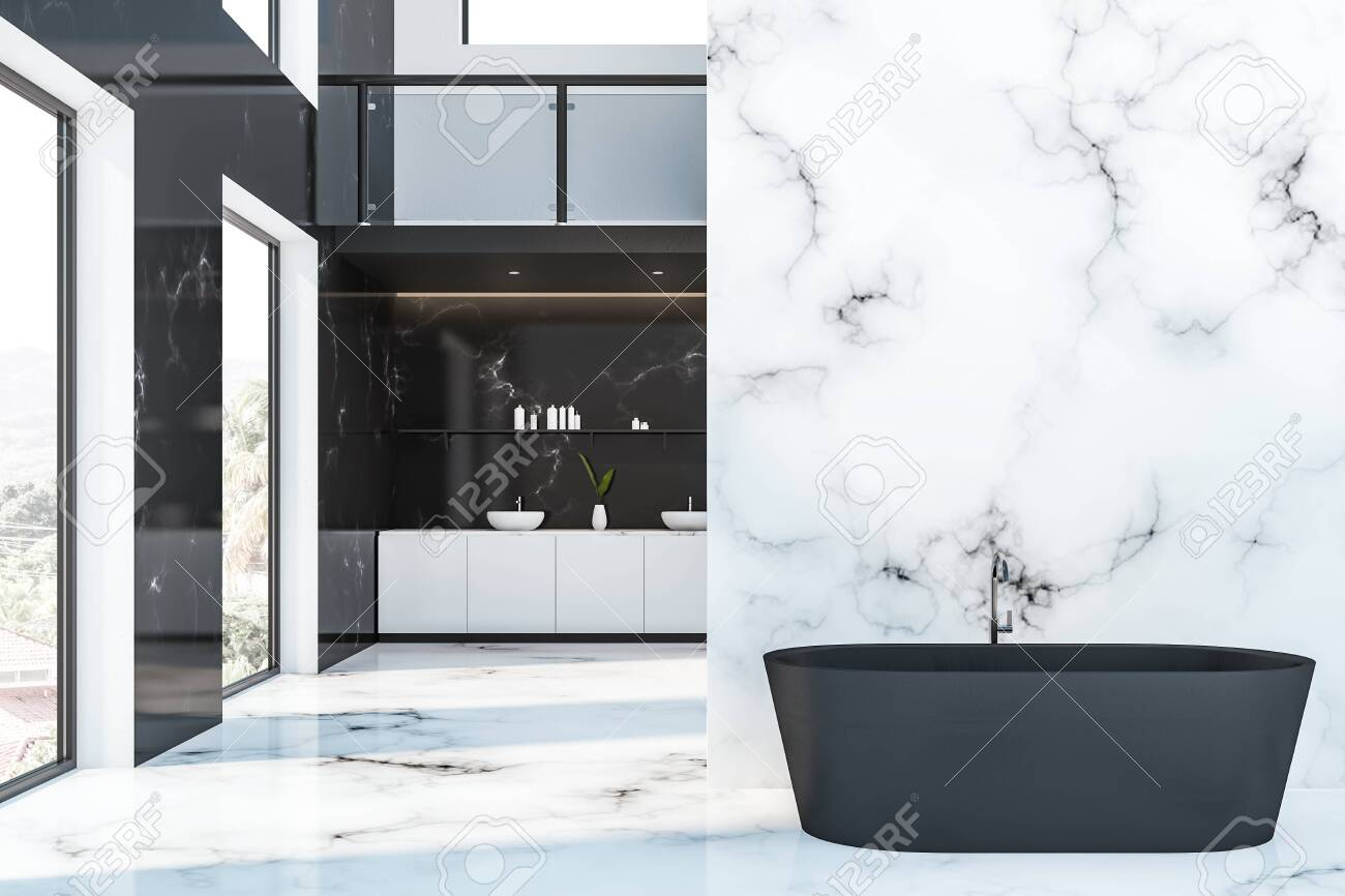 Luxury Bathroom Interior In Hotel With Black Marble Walls White Stock Photo Picture And Royalty Free Image Image 122314498