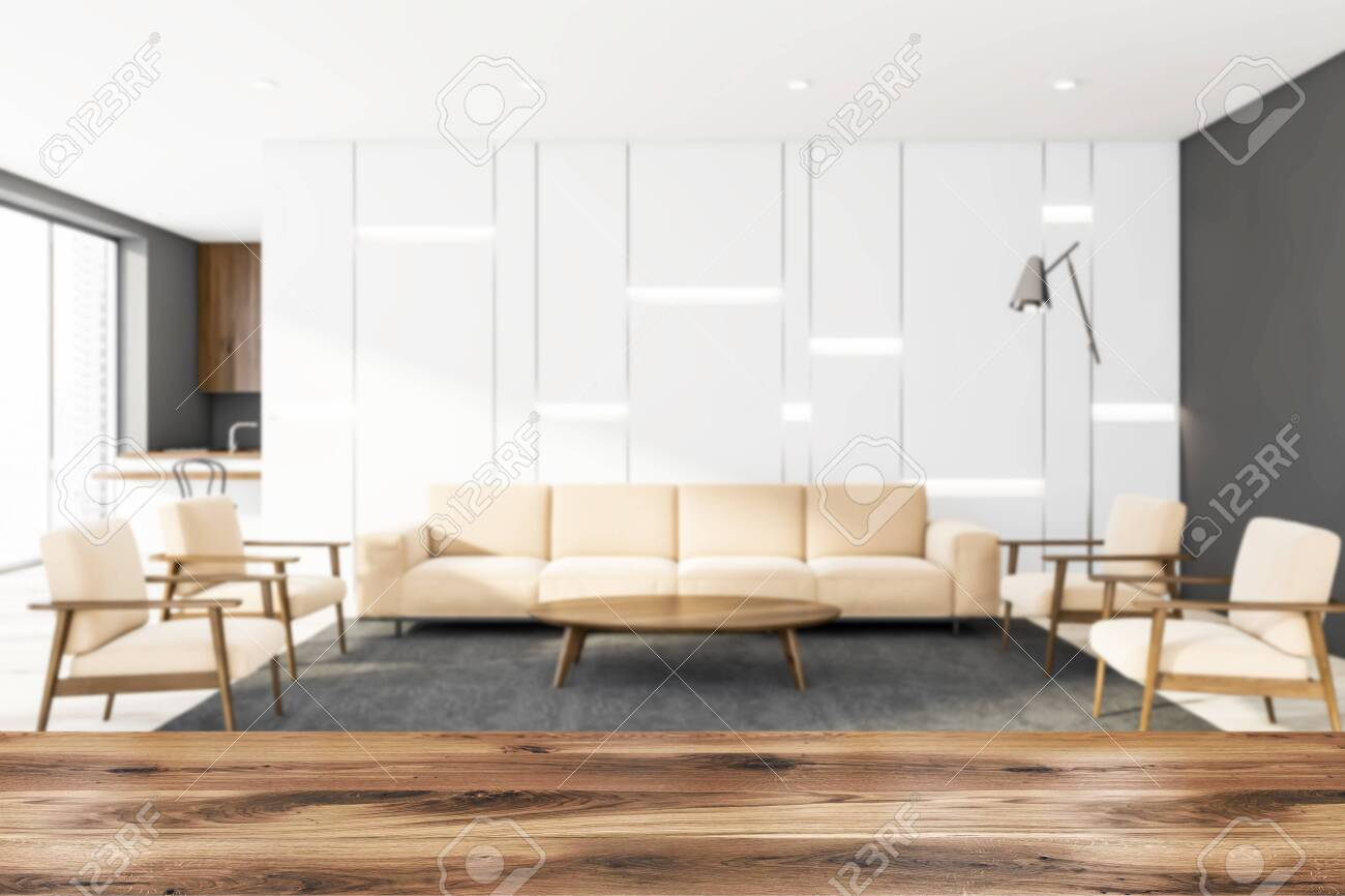 Excellent Blurred Interior Of Modern Living Room With White And Gray Walls Dailytribune Chair Design For Home Dailytribuneorg