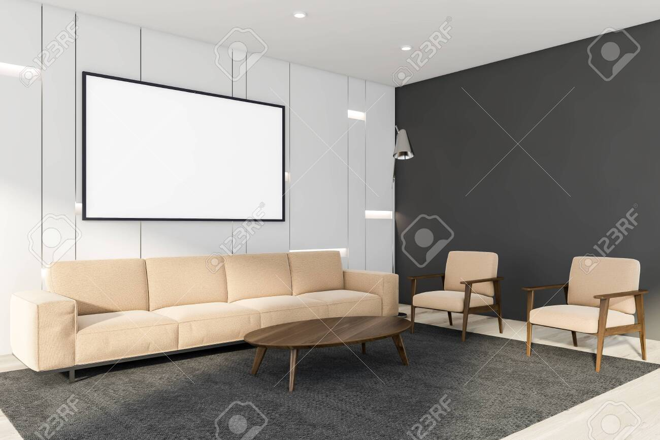 Excellent Interior Of Minimalistic Living Room With White And Gray Walls Dailytribune Chair Design For Home Dailytribuneorg
