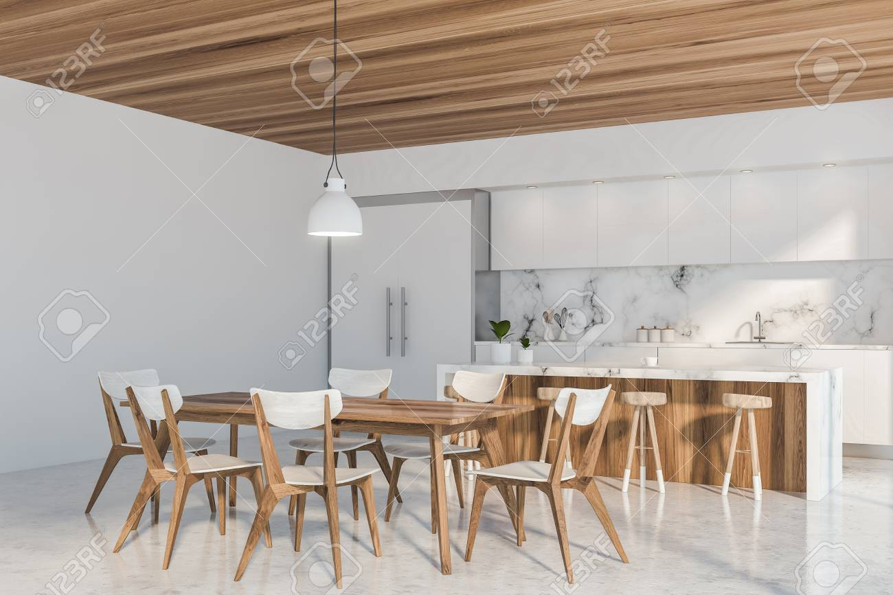 Luxury Kitchen Corner With White And Marble Walls Concrete Floor Stock Photo Picture And Royalty Free Image Image 122938818