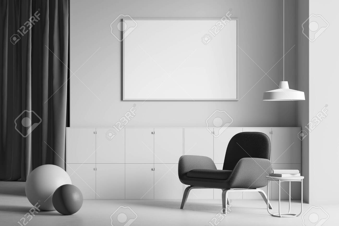 Minimalist Living Room Interior With Gray Walls And Floor Dark