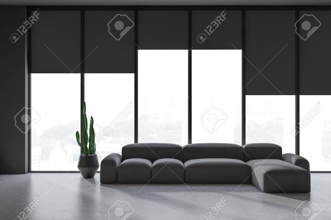Minimalist Living Room Interior With Gray Walls Concrete Floor