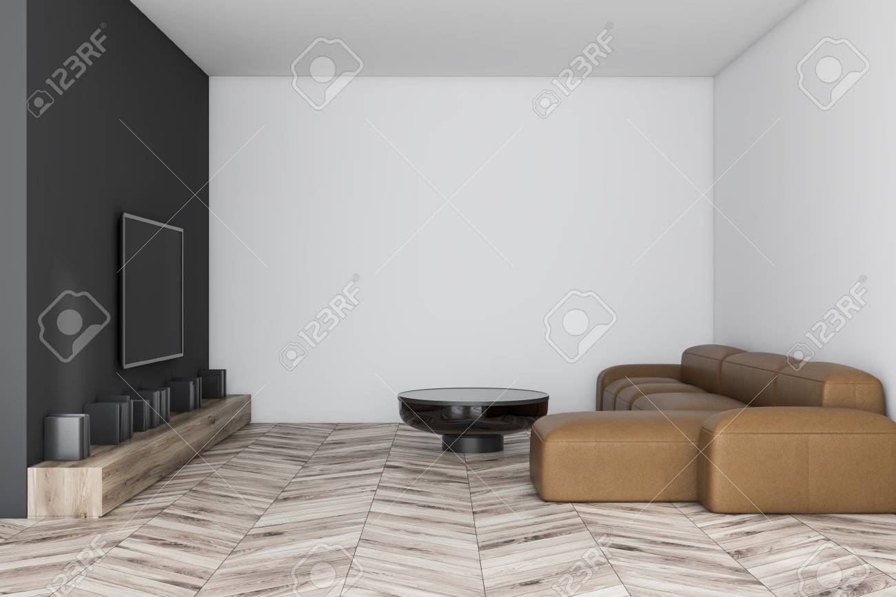 Interior Of Stylish Living Room With Black And White Walls Wooden