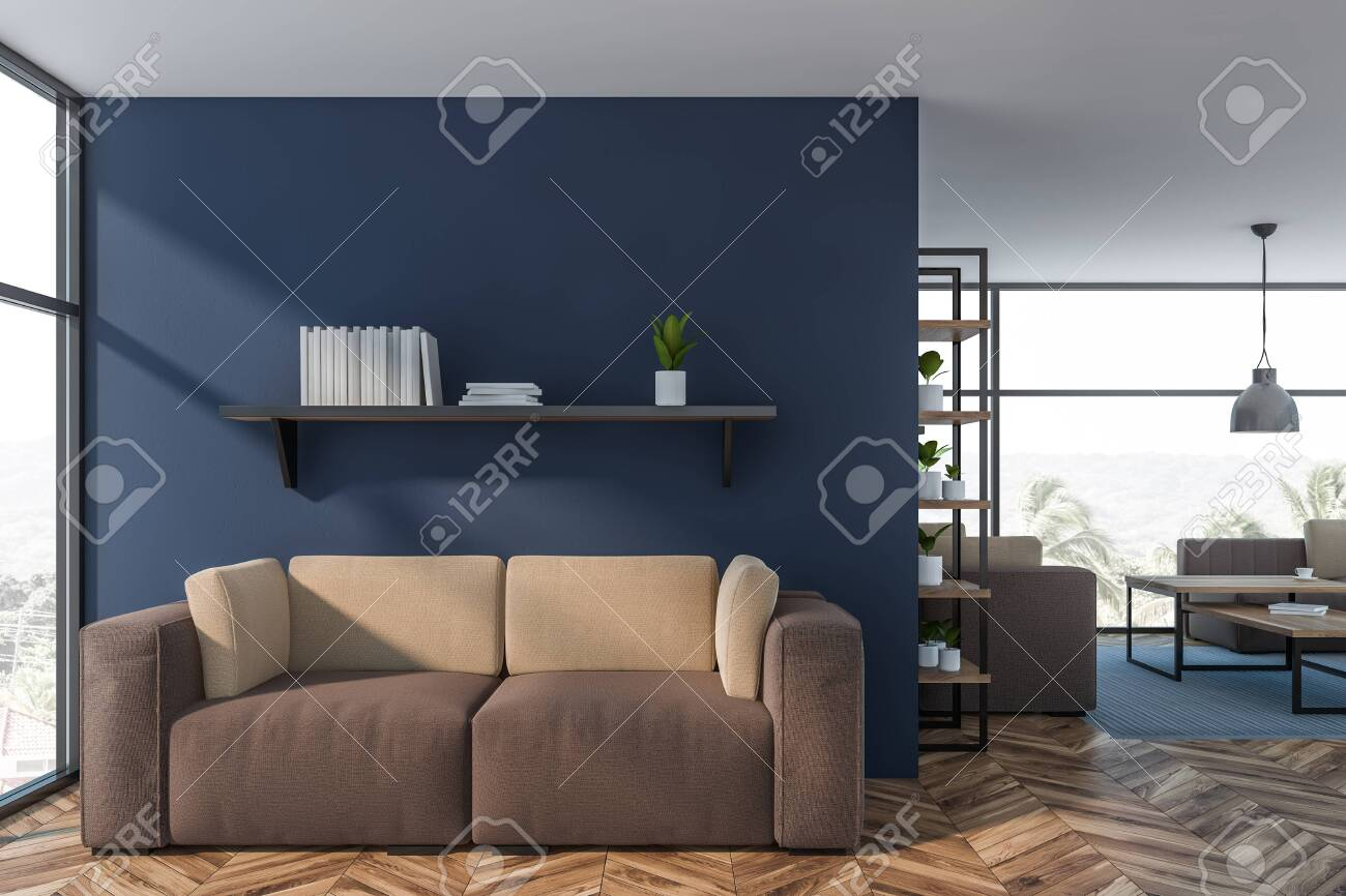 Strange Luxury Living Room Or Office Lounge Interior With Dark Blue Walls Onthecornerstone Fun Painted Chair Ideas Images Onthecornerstoneorg